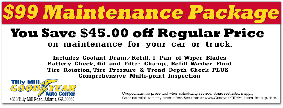 Goodyear coupon for auto maintenance - Dunwoody and Doraville, GA